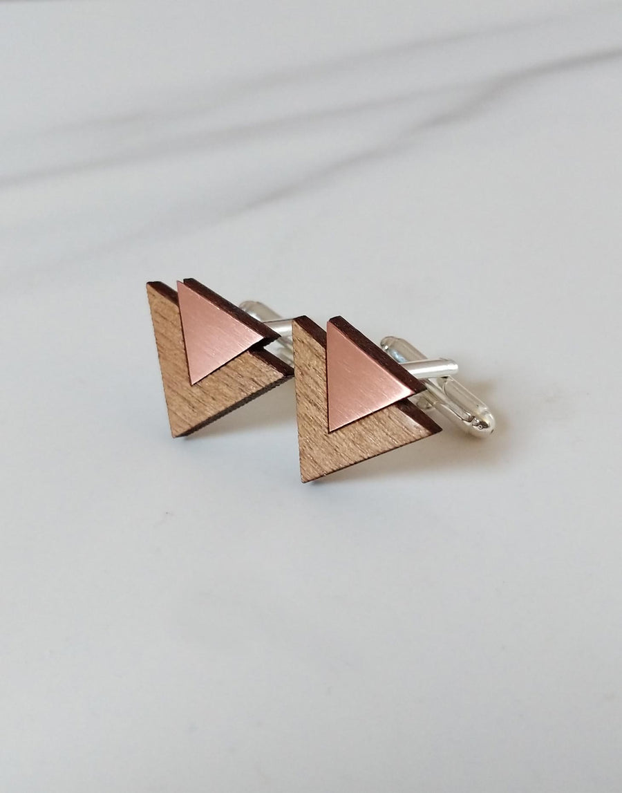 copper and wood cufflinks with triangle shape