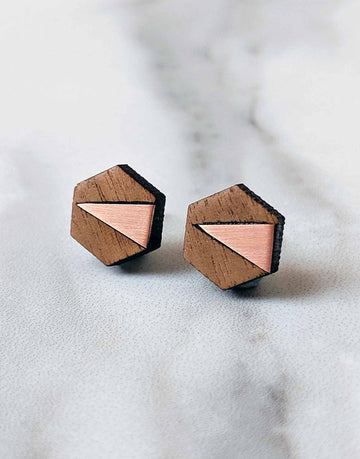 copper and wood hexagon earrings