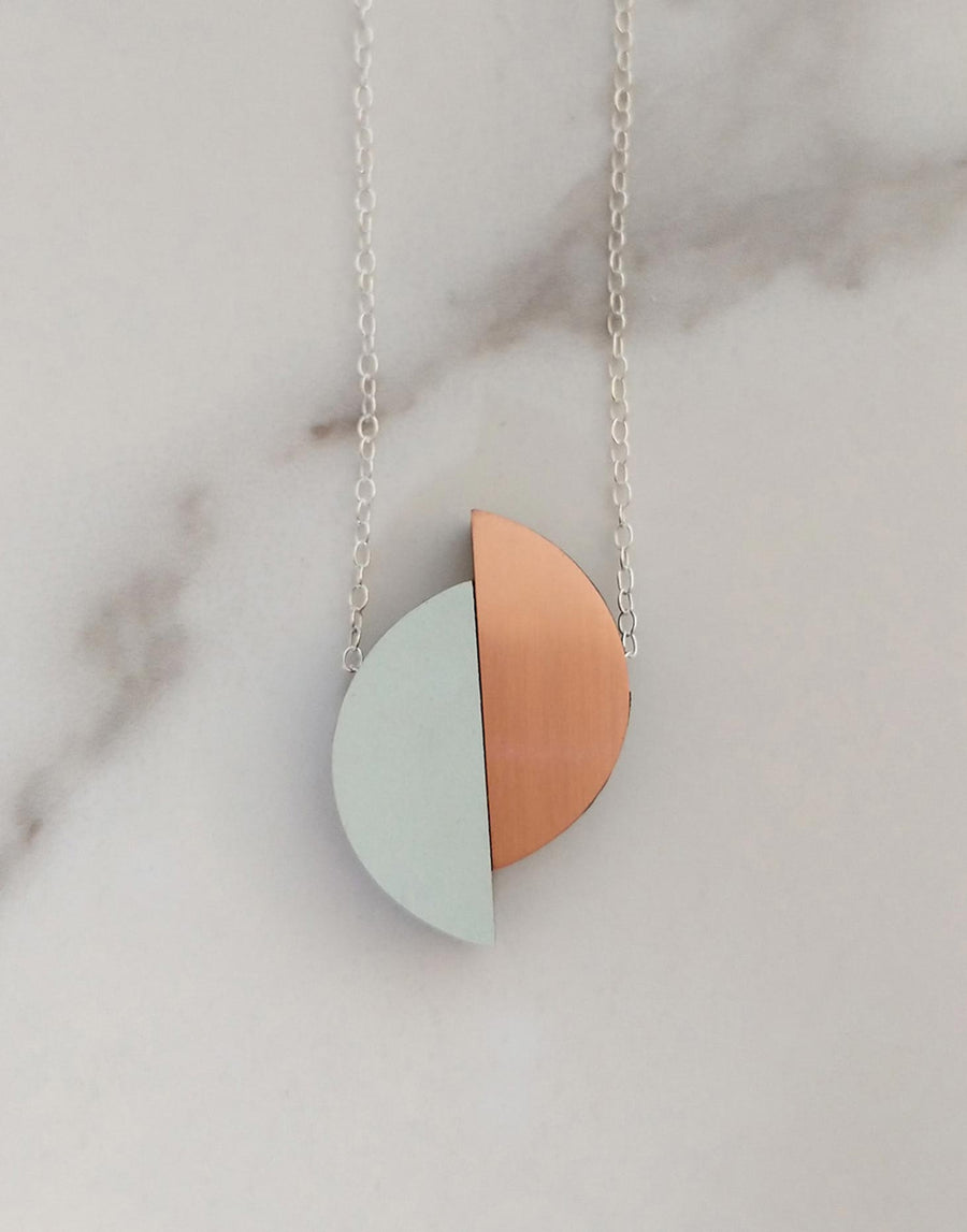 copper and green formica semi circle necklace