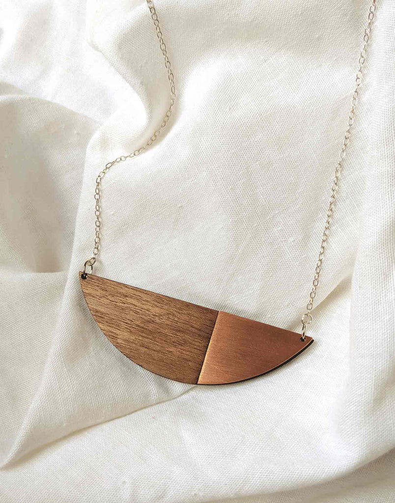 modern minimalist copper necklace with wood and silver chain