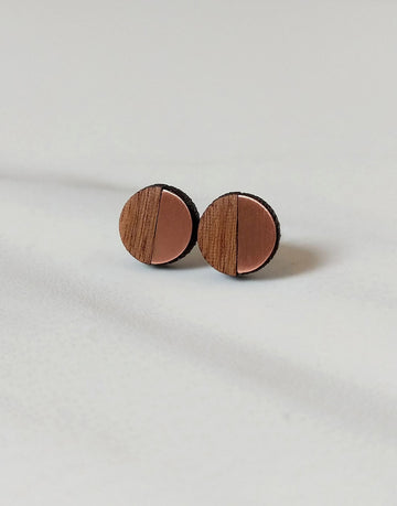 small copper and wood round stud earrings