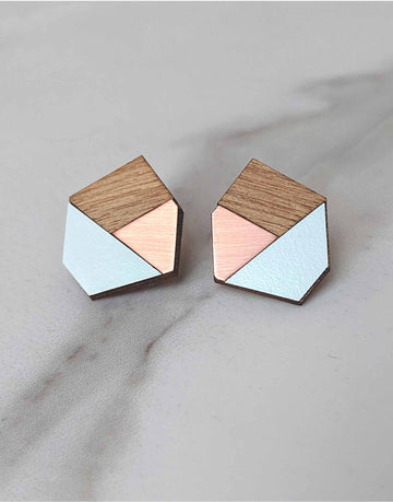 copper and wood geometric stud earrings with green formica
