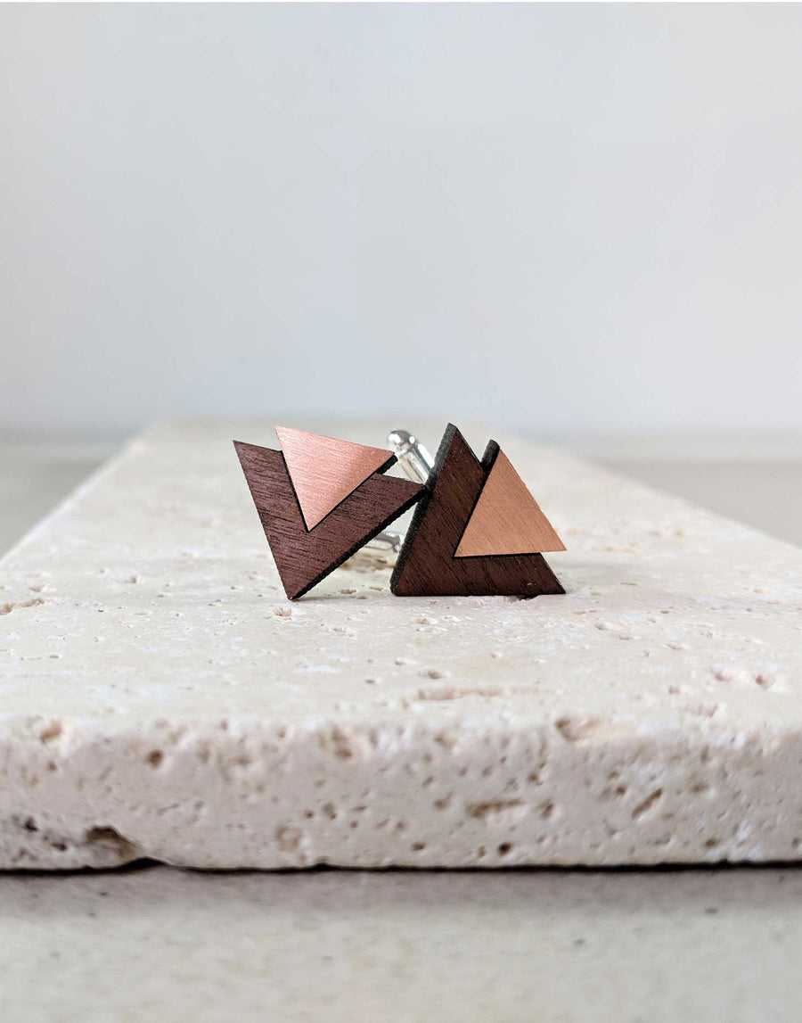 copper and wood cufflinks