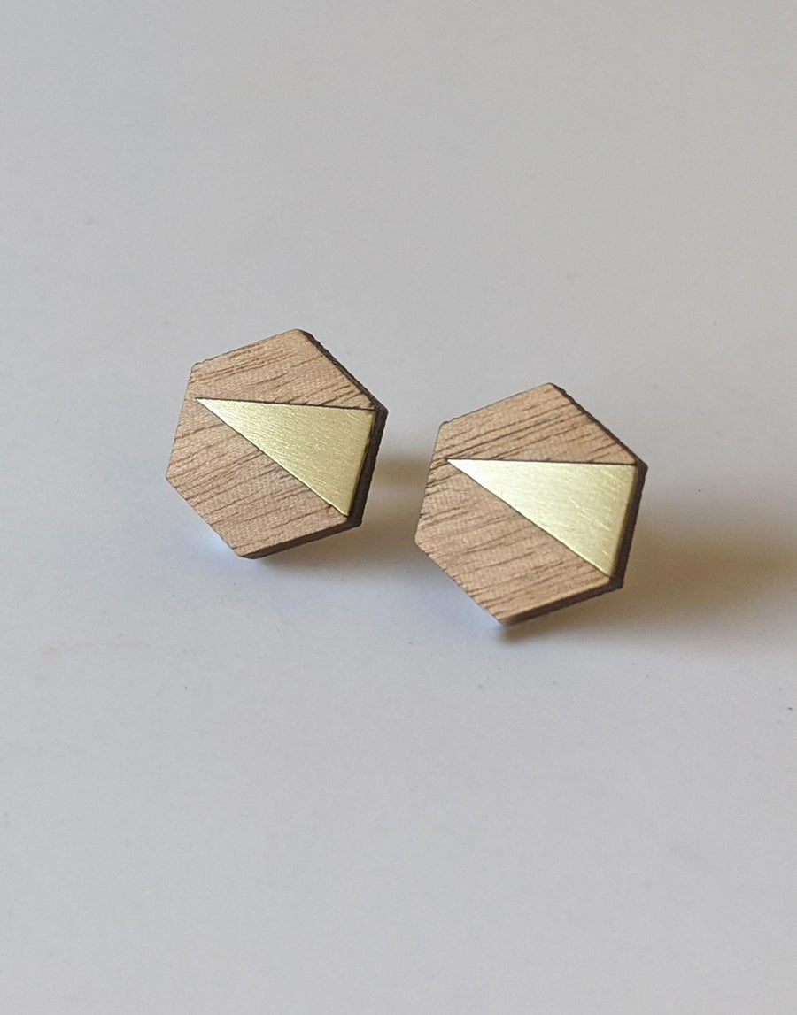 wood hexagon earrings with gold brass