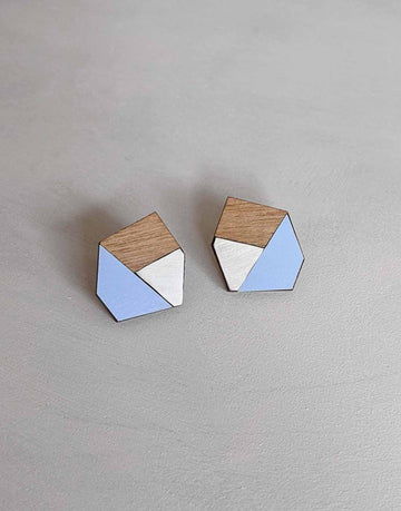 steel earrings with blue formica and walnut wood