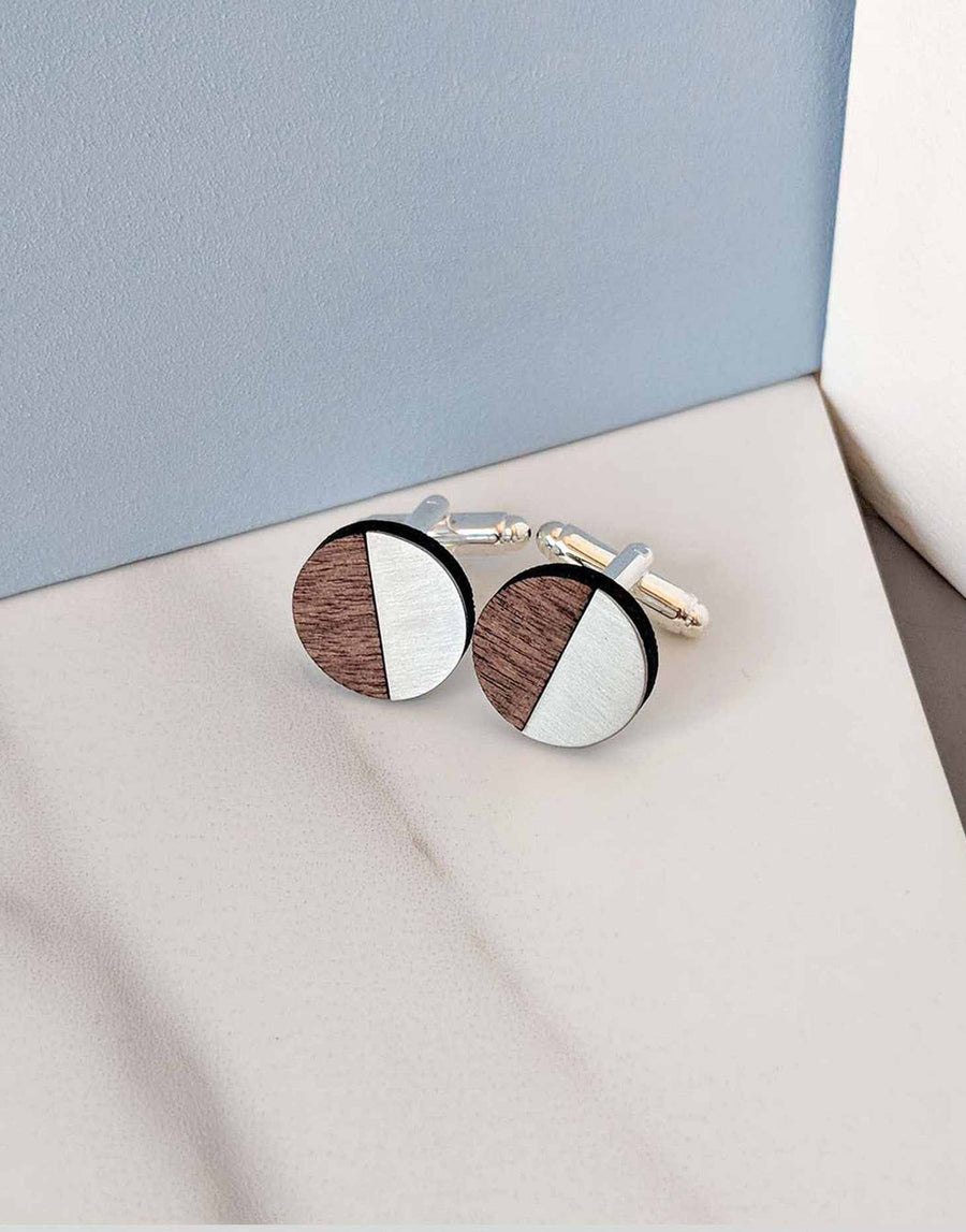 round steel cufflinks with wood