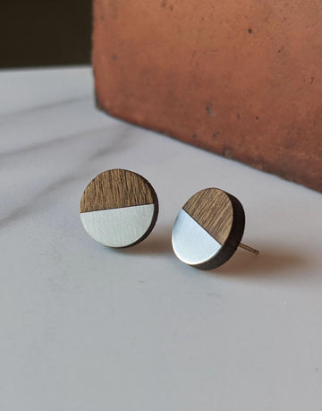 round steel earrings with wood