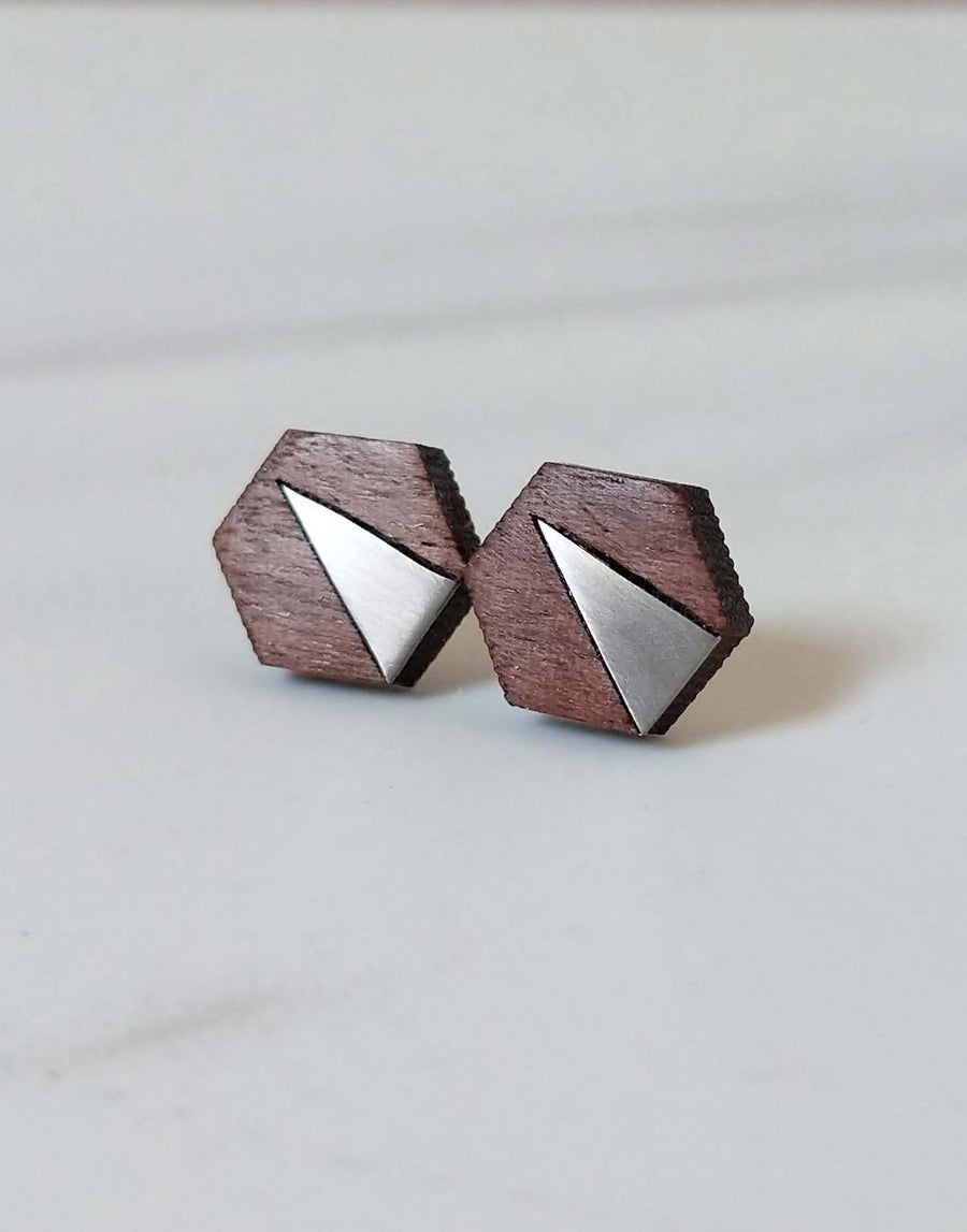 steel hexagon earrings with walnut wood