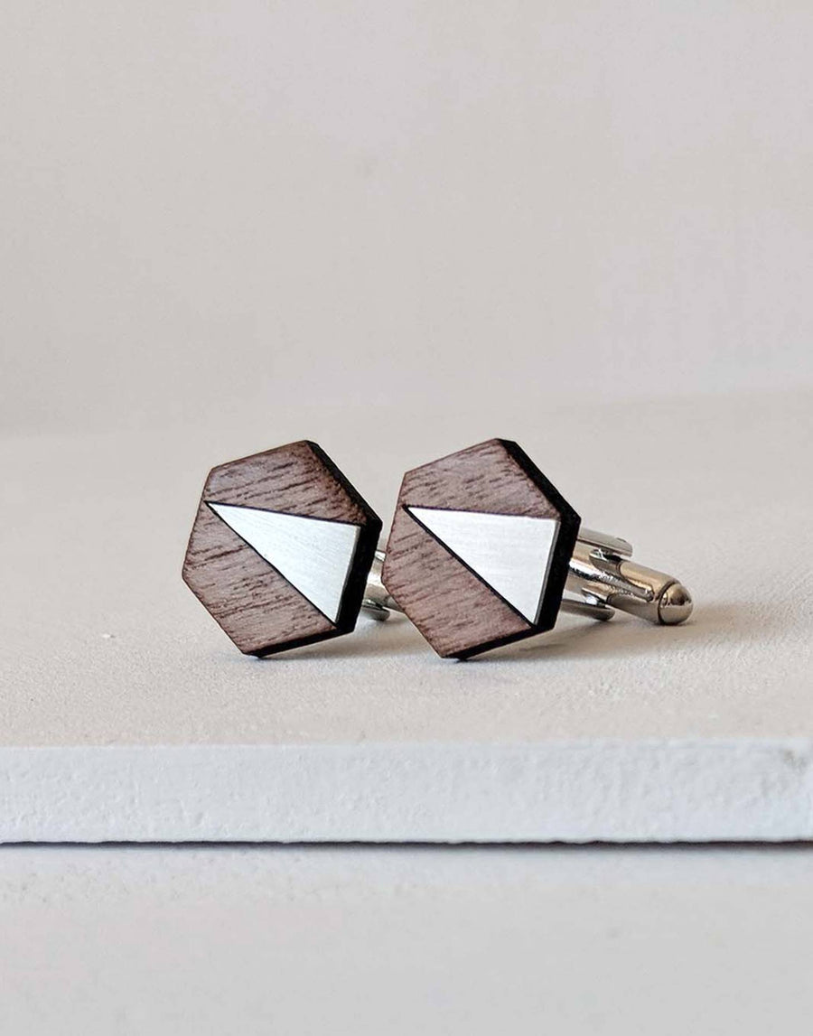 steel and wood hexagon cufflinks
