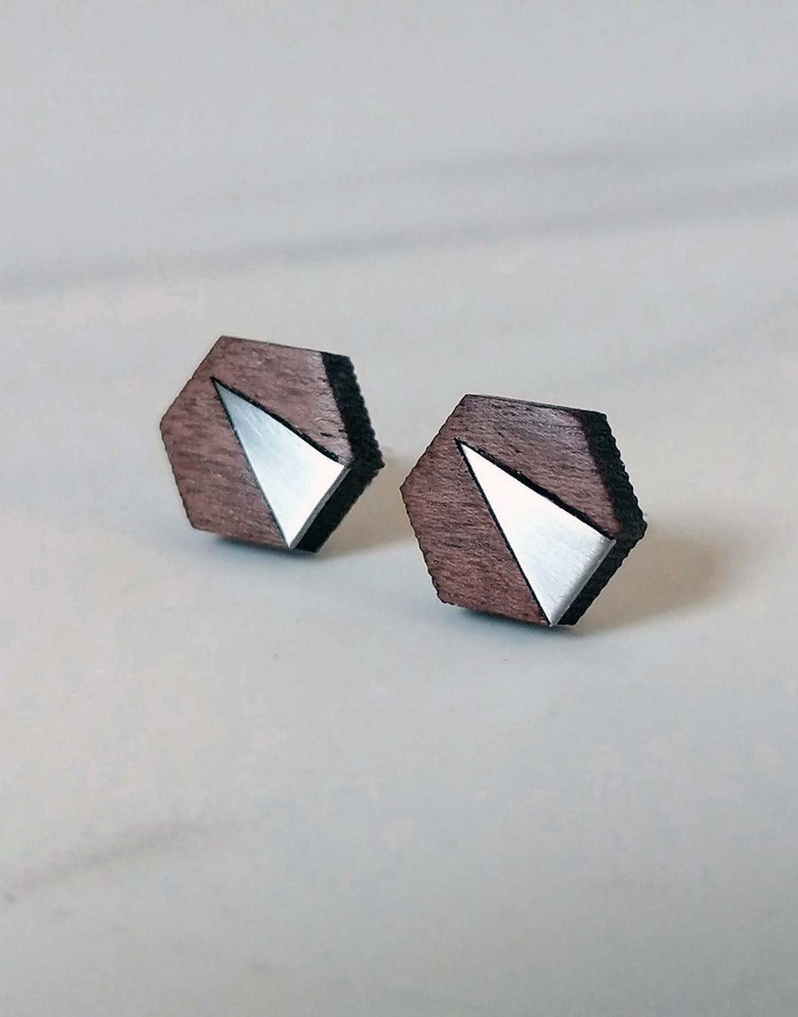 steel hexagon earrings