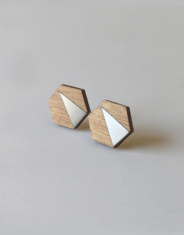 steel hexagon wooden earrings