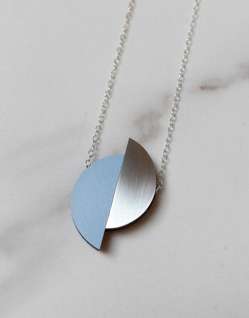 steel and blue formica semi circle necklace