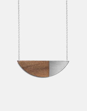 steel and wood necklace