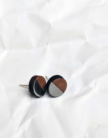 small round steel and wood earrings