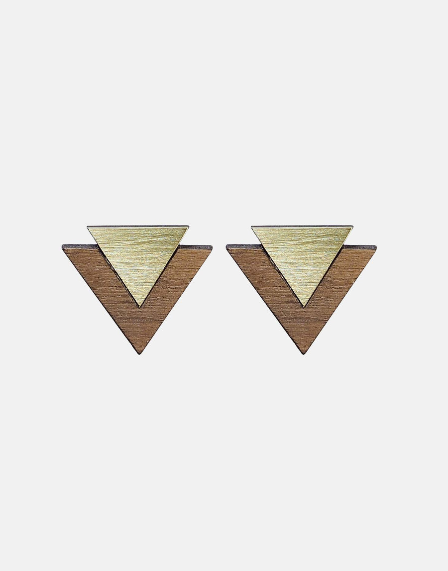 triangle cufflinks in wood and brass