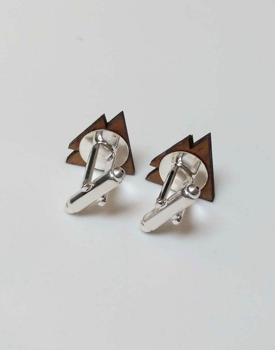 triangle cufflinks from the back