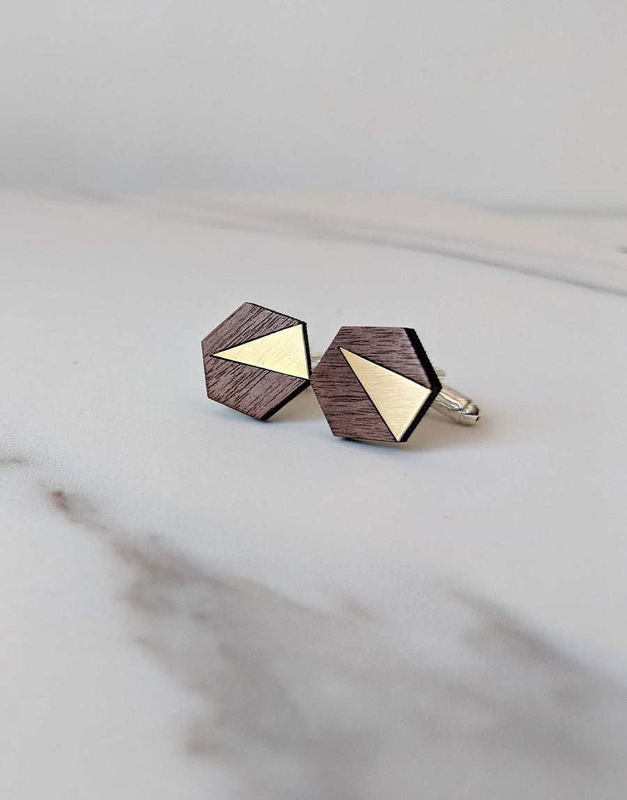 wood and brass hexagon cufflinks