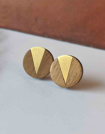 round wood earrings with brass triangle