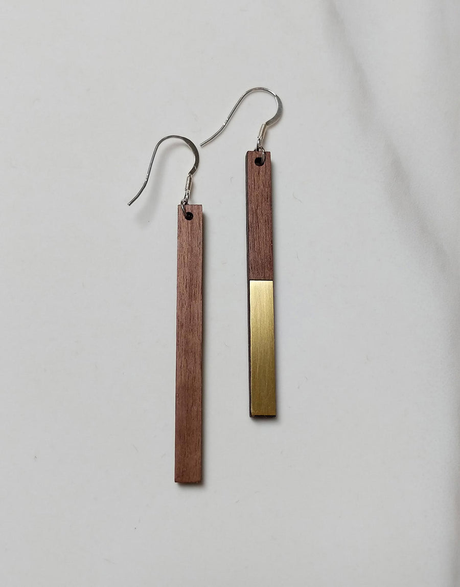 wood and gold brass drop earrings