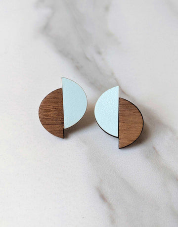 wooden earrings with green formica