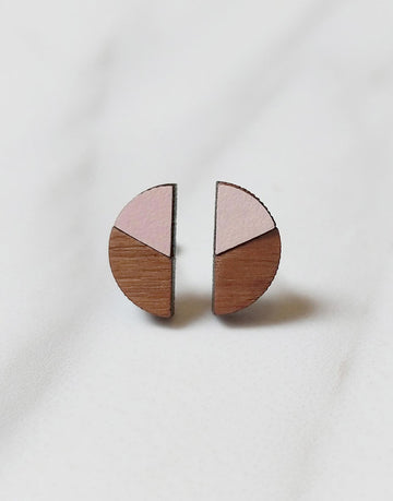 wood and pink formica semi circle stud earrings