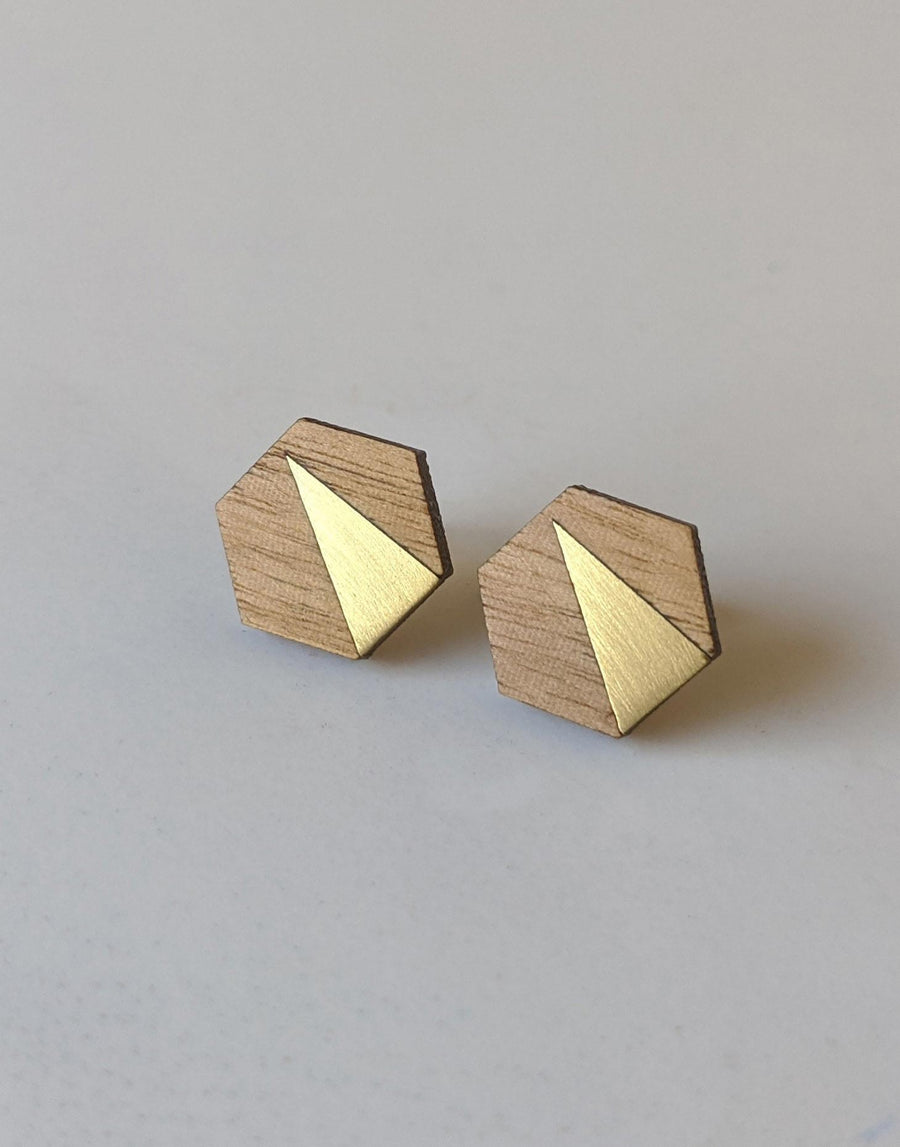 wood hexagon earrings with brass