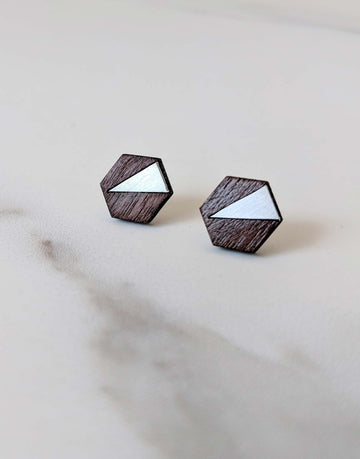 wood and steel hexagon earrings