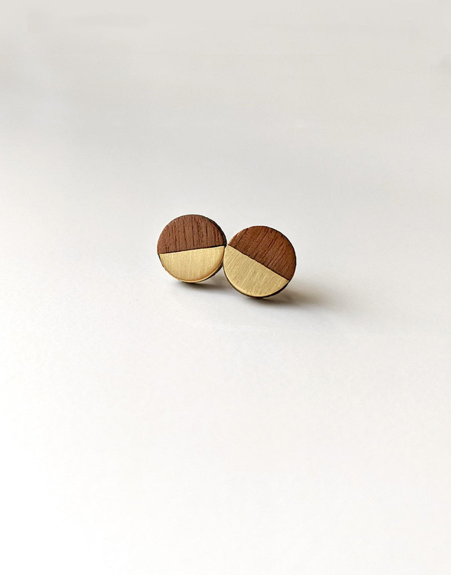 small round wooden stud earrings with brass inlay