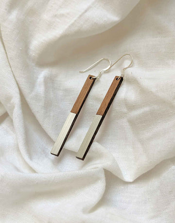 wood and steel drop earrings