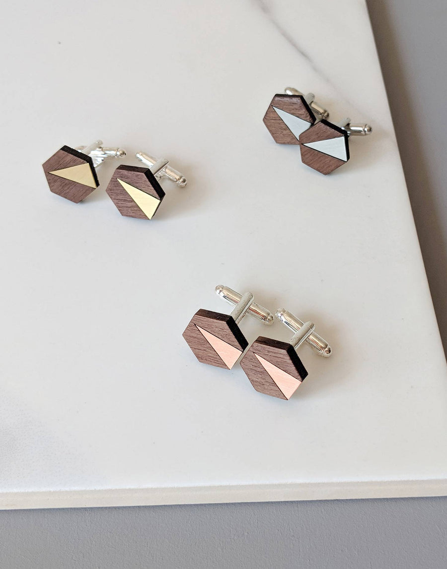 wooden cufflink options in brass, copper and steel