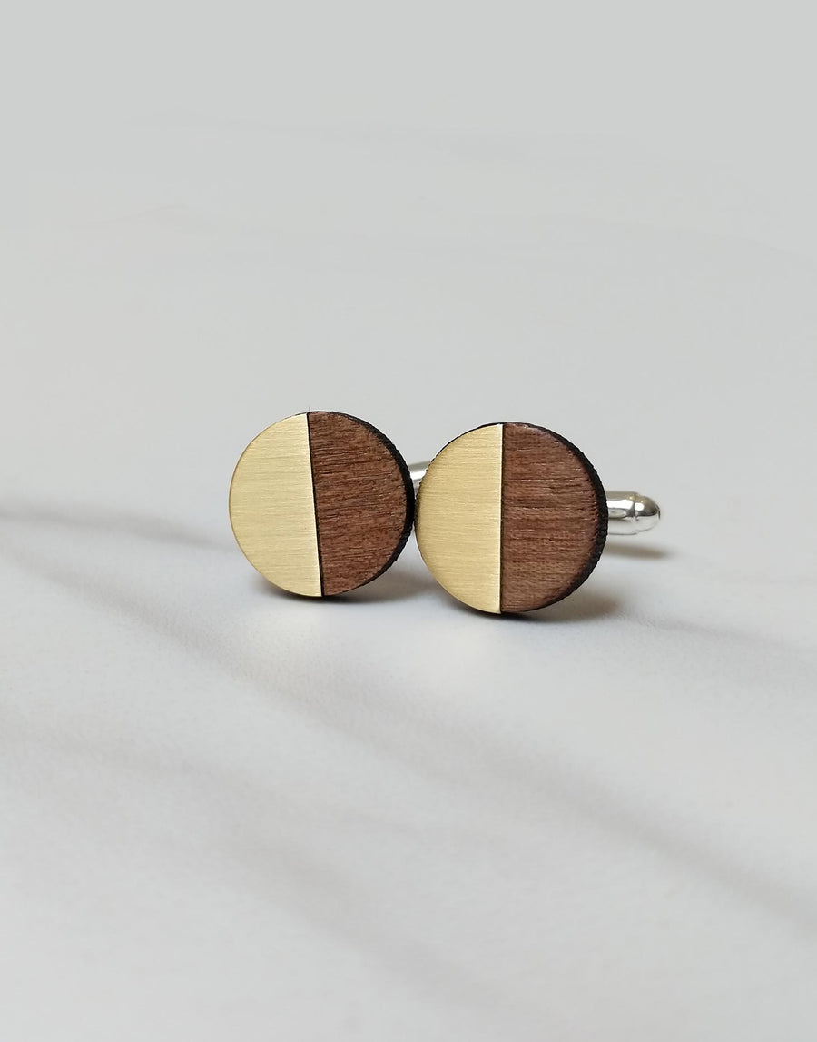 wooden cufflinks in round design with brass inlay