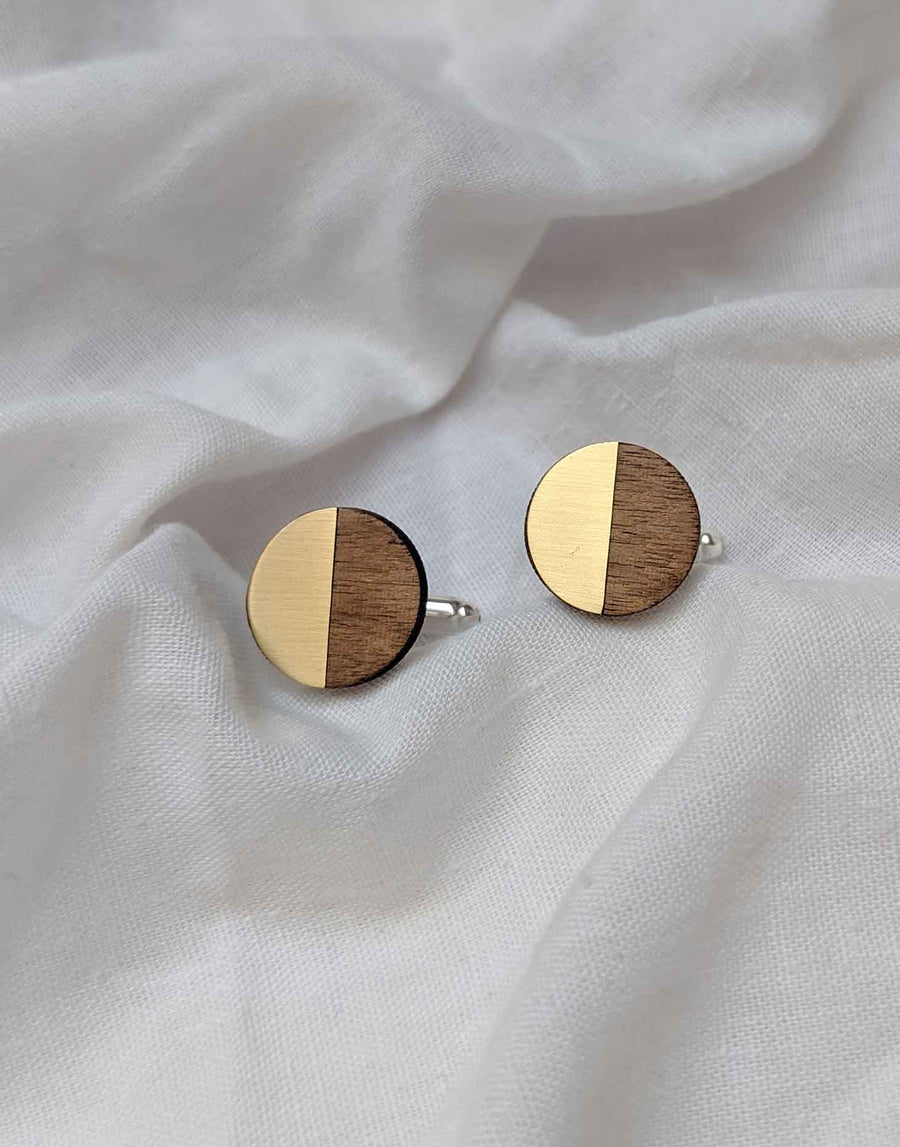 round wooden cufflinks with brass