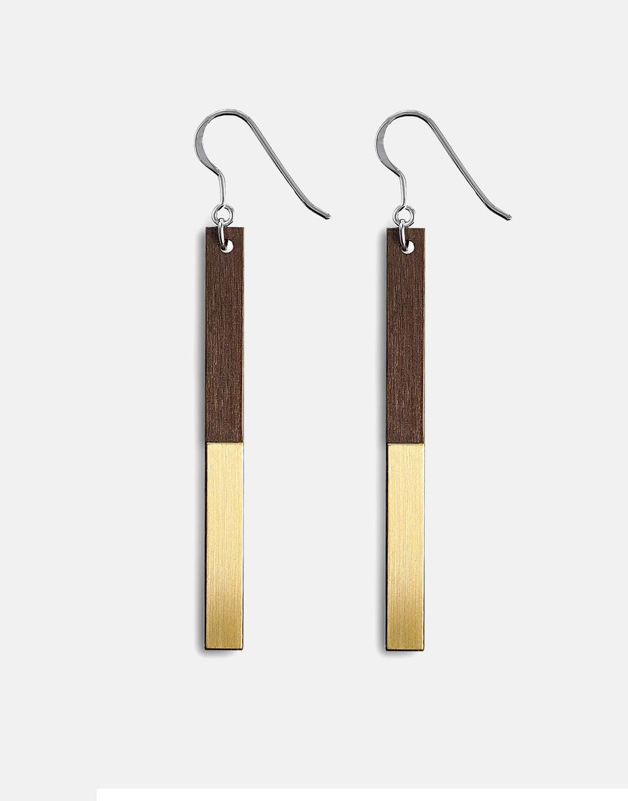 wooden drop earrings with brass inlay