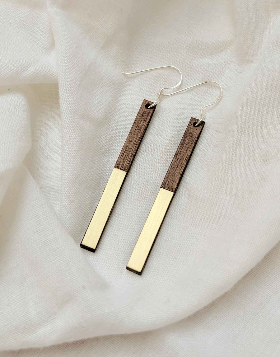 wooden dangle earrings with gold brass