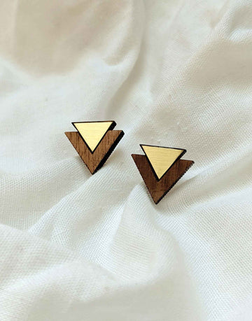 triangle wooden earrings with brass close up