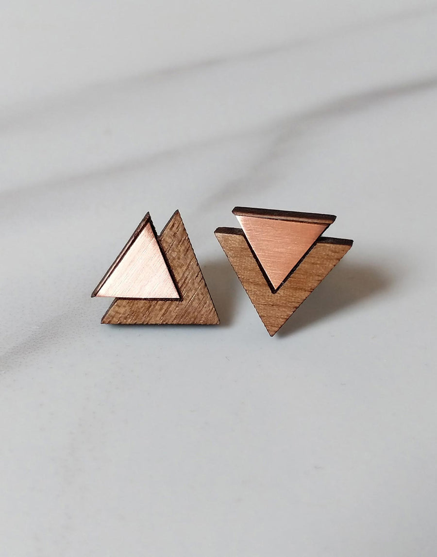 copper triangle wooden earrings