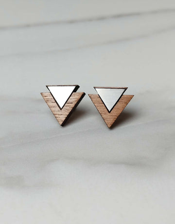 steel triangle earrings with wood