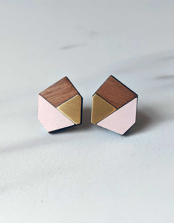 geometric wooden earrings with brass and pink formica