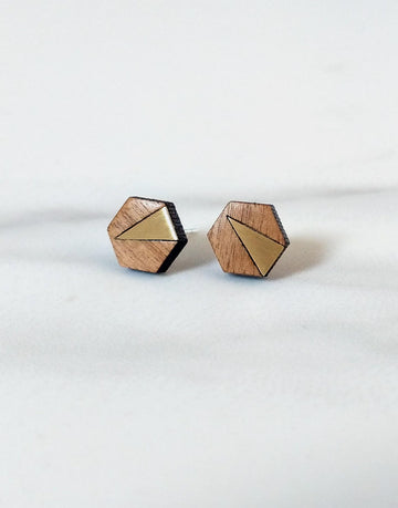 wooden hexagon earrings with brass