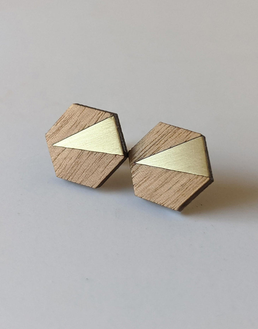 wooden hexagon earrings with brass inlay