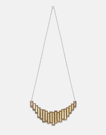 wooden statement necklace in brass