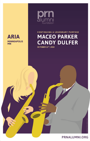 The official Maceo Parker + Candy Dulfer PRNAF event poster
