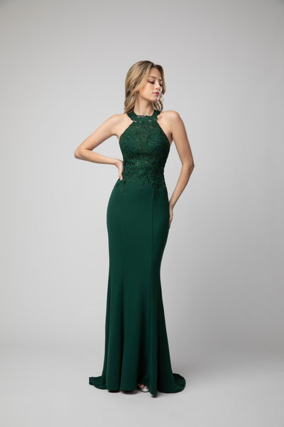 Halter style Body Hugging Embellished Mermaid Style Prom Dress 934