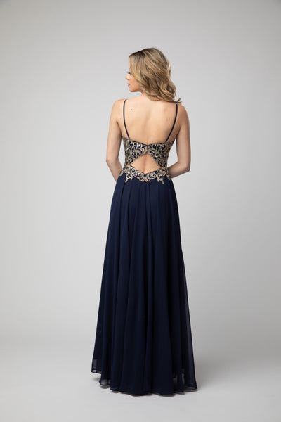 Spaghetti Strapped Embellished Bodice Fit To Flare Prom Dress With Back Keyhole 937