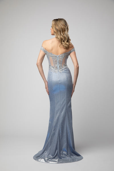 Sweetheart Off The Shoulder Sheer Illusion Body Hugging Shimmery Prom Dress With Slit 938