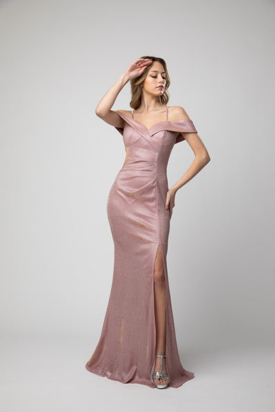 Cold Shoulder Sweetheart Body Hugging Metallic Prom Dress With Slit 940