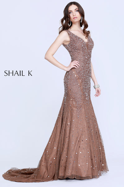 V- Neck Sequin Rose Mermaid Style Body Hugging Dress 1143