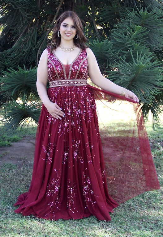V Neck Sheer Illusion Skirt Burgundy Belted Plus Size Prom Dress