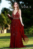 V-Neck Sheer Illusion Rose Belted Prom Dress 12103