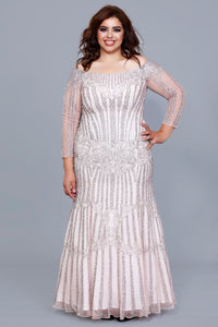 Completely Embellished Long Sleeve Mermaid Plus Size Prom Dress 12108W